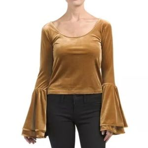 Torn By Ronny Kobo Sabrina Velour Bell Sleeve Top